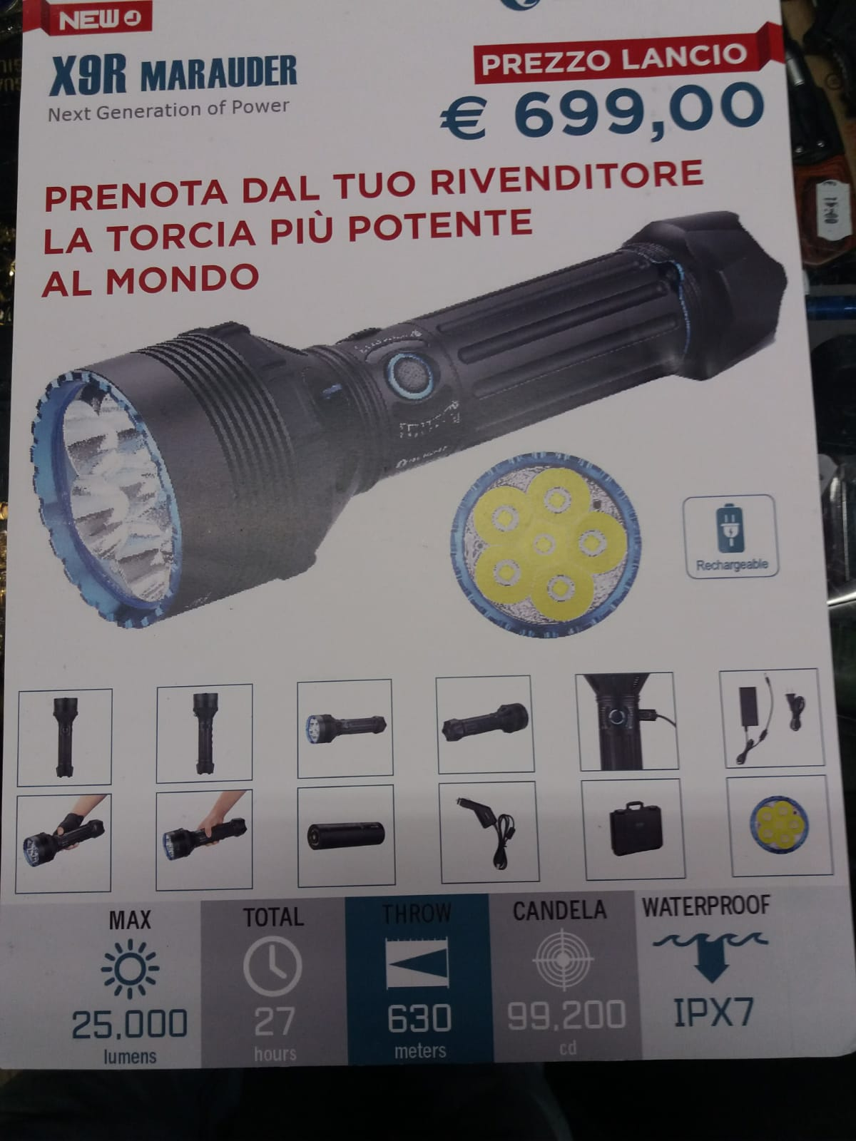 Torcia 25000 luemens Ultra luminosa
